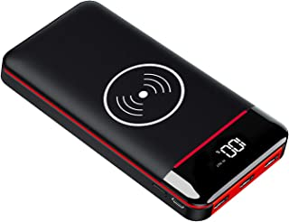 モバイルバッテリーQi 25000mAh 大容量 無線&有線充電 3個LEDライト付 PSE認証 LCD残量表示 急速充電 MicroとType入力+3USB出力ポート iphone/iPad/Android対応 災害/旅行/出張などの必携品 ...