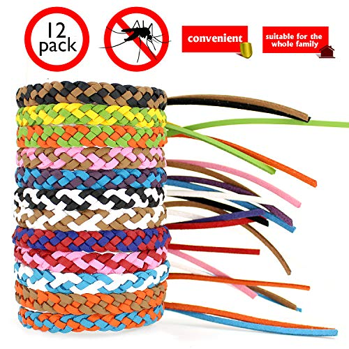 Mosquito Repellent Leather Braided Bracelets. Citronella Wristbands Protect from Insect, Bug, Pest....