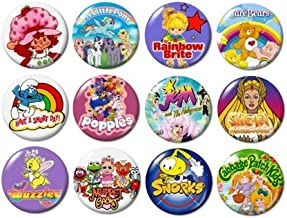 80's TV CARTOONS BUTTONS (set #1) pins television 1980's eighties new!