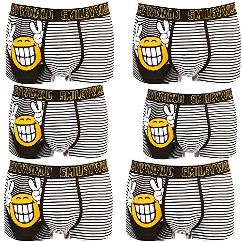 Smiley World 5+1 GRATIS Pack Smile at me Unterhose Boxershort Pant Underwear Herren, Jungen, Kinder modisch witzig frech gelber Smileys 95% Baumwolle (S)