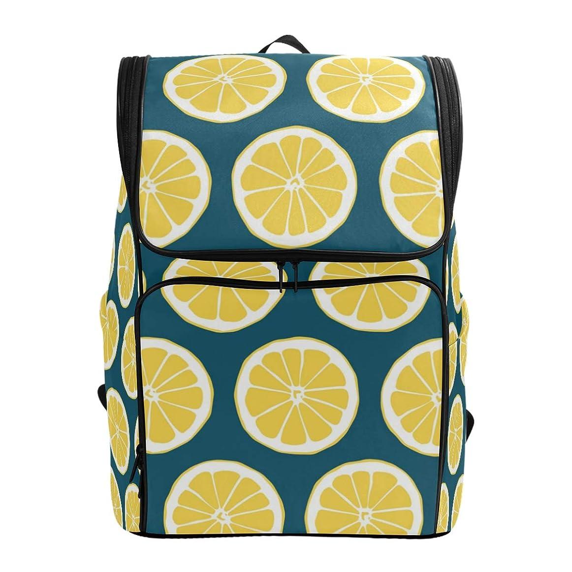 制限された不満おかしいマキク(MAKIKU) リュックサック 大容量 軽量 オレンジ レモン柄 果物 リュック メンズ 登山 通学 通勤 旅行 プレゼント対応