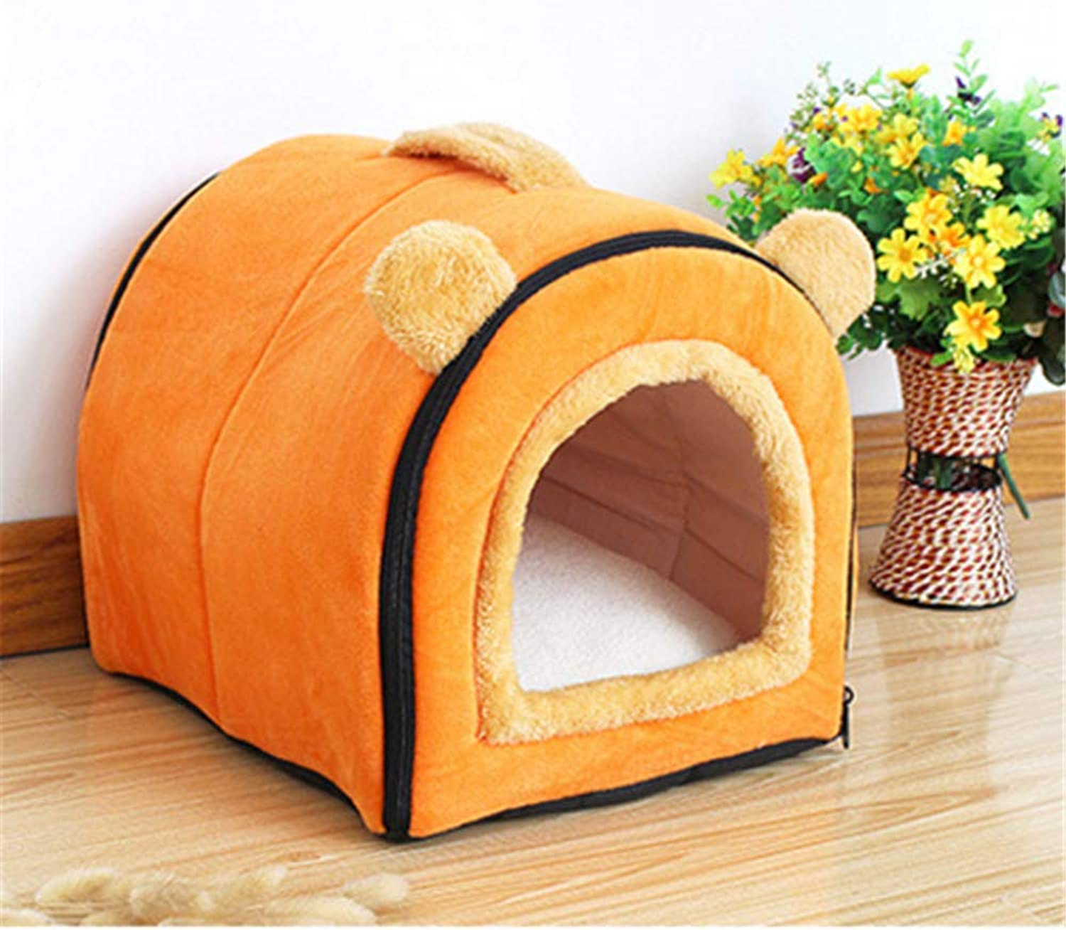 GBJ1 Pet Cat Igloo Bed Small Dog Soft Bed Met House (S M L) (M  16.912.913.3in, orange)