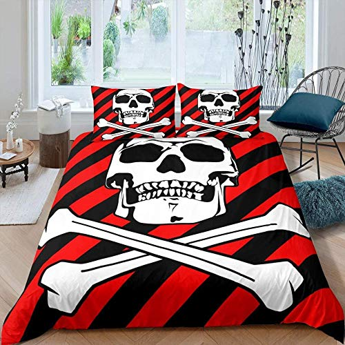 Matasuer Boys Duvet Cover Set, Halloween Black Red Stripes Skull - Double (200 X 200 Cm) 2 Pillowcase 50 X 75 Cm Soft Easy Care Anti-Allergic Bedding Set Gift For Teens Girls