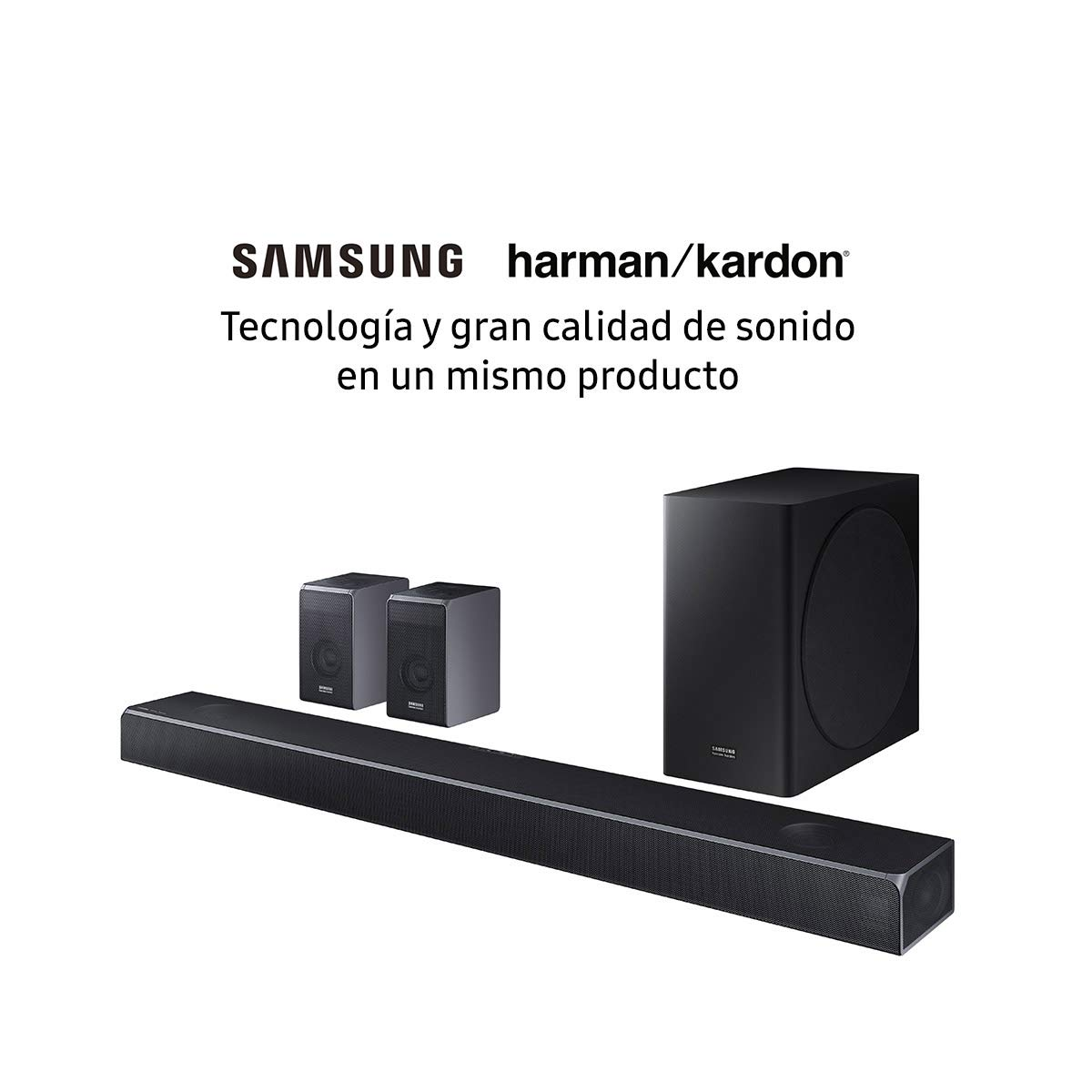 Barra de Sonido Samsung | Harman Kardon HW-Q90R 7.1.4Ch, 512W con Subwoofer Inalámbrico, 17 Altavoces, True Dolby Atmos con Altavoces Traseros: Amazon.es: Electrónica