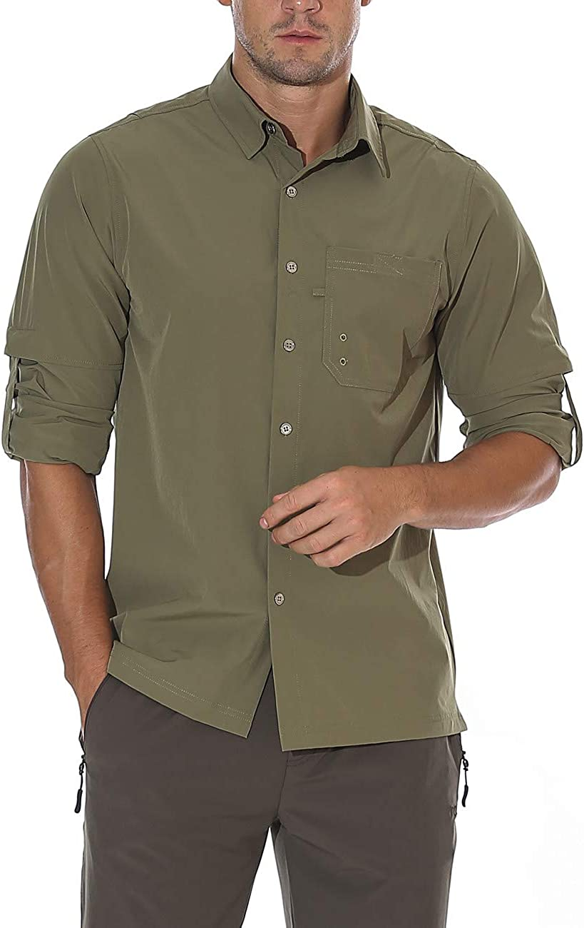 unitop New color Men's Hiking Shirt Fishing Sleeve Roll-Up Long Genuine Free Shipping