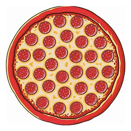 RdChicLog Manta Redonda de Playa Toalla Redonda Pizza Gigante Mantas de Picnic Alfombra de Yoga (Pizza)