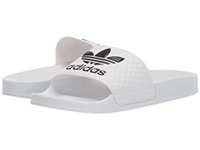 adidas Originals Kids Adilette (Little Kid/Big Kid) (White/Black) Kids Shoes