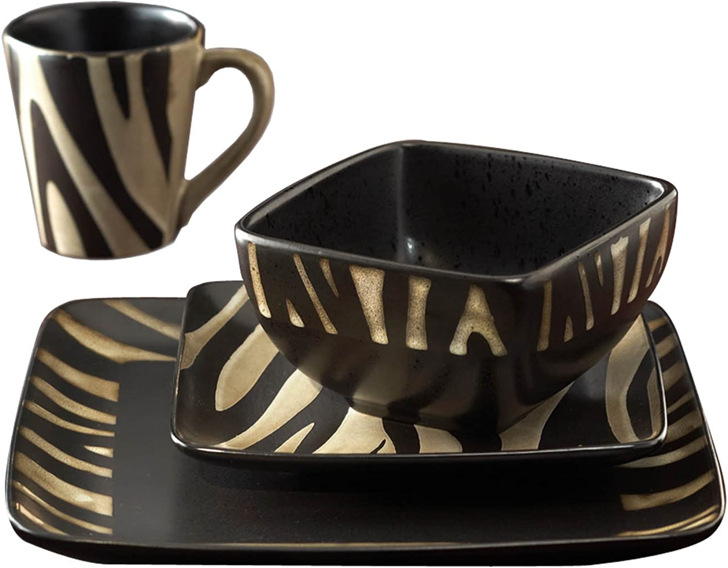 American Atelier 16 Piece Safari Zebra Dinnerware Set, White