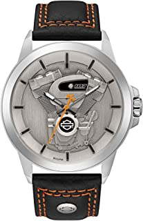 Harley-Davidson Men's Big Twin Engine Leather & Stainless Steel Watch 76A161