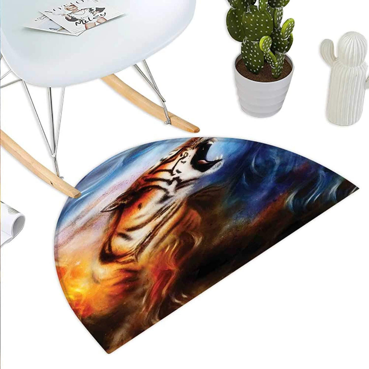 Safari Semicircle Doormat Wild and Angry Tiger Portrait Fire bluee Flame Brave Mammal Forest King Roar Halfmoon doormats H 35.4  xD 53.1  bluee orange Black