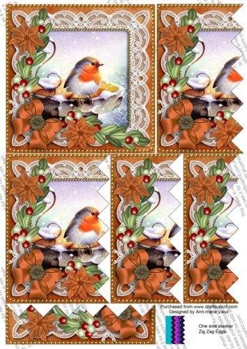 Robin Burnt Orange Poinsettia 5in Zig Zag One Side Stacker by Ann-Marie Vaux