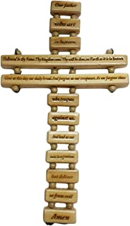 Khandekar (with device of K) Olive Wood Lord's Prayer Wall Cross, Wooden Wall Hanging, Perfect for Home & Office Wall | Handmade | (10 X 5 Inch)