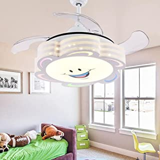 COLORLED 4 Blades Ceiling Fans Kids 42 Inch Smile Face Fan Chandelier With  Modern Simple