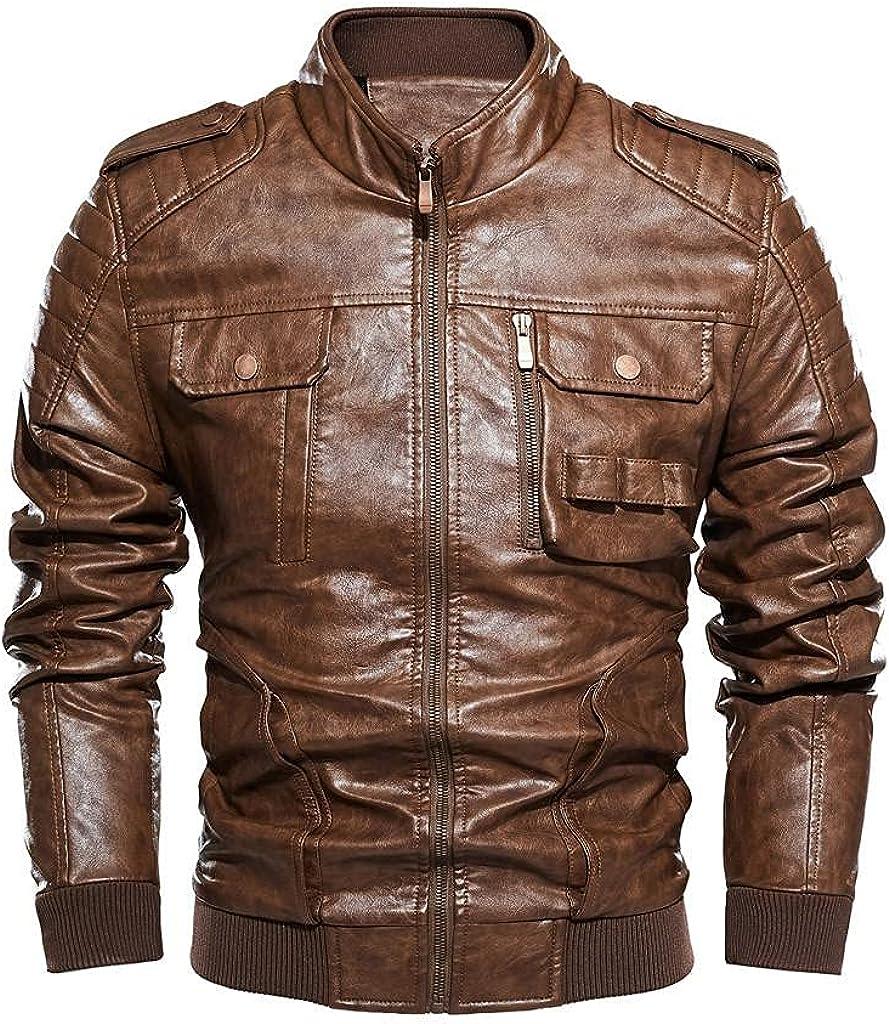 Men Leather Jackets,Vintage Classic Leather Zip Up Biker Bomber Jacket V1816