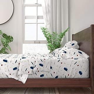 Roostery Sheet Set, Golf Clubs Bag Tees Tee Baby Boy Sports Ball Print, 100% Itallian Cotton Sateen Sheet Set, Twin