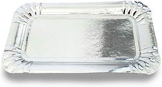 Extiff - Bandeja de cartón plateada para repostería o aparador frío 50 unidades 16 x 22 cm