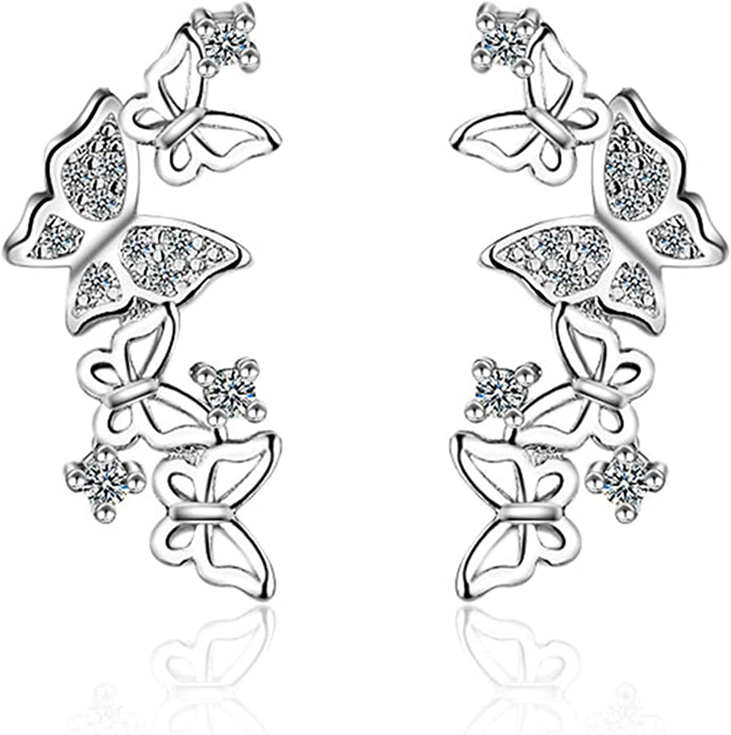 SWERTY Hollow Filigree Butterfly CZ Wrap Earrings Minneapolis Mall Studs Cuff Jacksonville Mall for