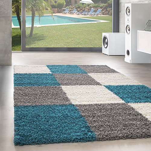 Unbekannt Shaggy Hochflor Langflor Teppich Wohnzimmer Carpet Farben & Formen Karo Kariert!, Größe:200x290 cm, Farbe:Türkis