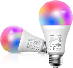 meross Smart Wi-Fi LED Bulb, E27 Light Bulb, Multiple Colors, RGB, 60W Equivalent, Compatible with Alexa, Google Assistant...