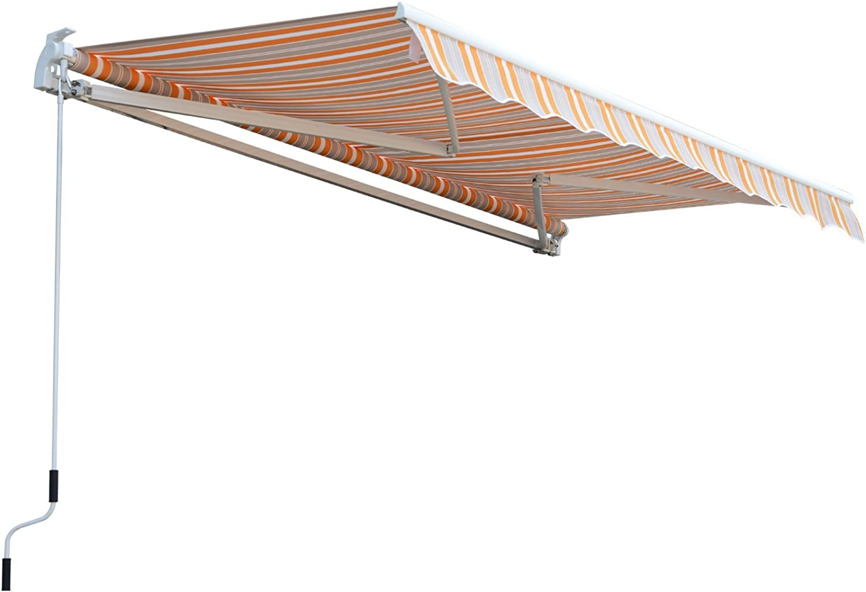 Outsunny Markise Alu-Markise Aluminium-Gelenkarm-Markise Sonnenschutz