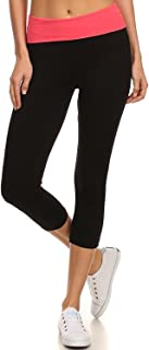 MOPAS Yoga Leggings Capri with Fold Over Solid Waistband