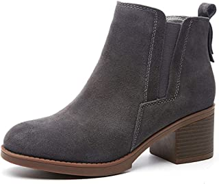 Womens Chelsea Elastic Ankle Boots Waterproof Block Heel Boots