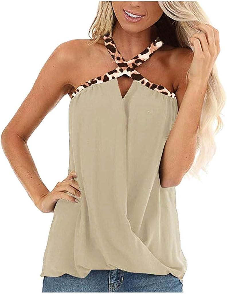 iQKA Ladies Fashion Sexy Off Shoulder Leopard Print Criss Cross Vest Womens Sleeveless Tank Tops Camisoles