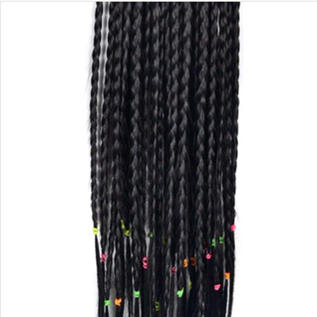一掃するキロメートルに渡ってDoyvanntgo 45cmの女性のかつらのエクステンションワンピースの小さなスコーピオンのウィッグは、束ねられたポニーテイルの髪100gで (Color : ブラック)