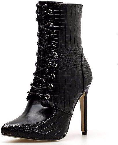 HBDLH Chaussures pour femmes 11Cm Devant Le Frenulum Talon Ceinture Tête Pointue Tube Court Chevalier Ses Bottes.
