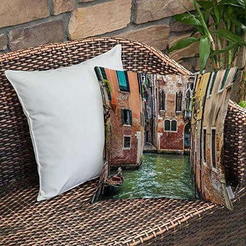 Funda de Cojín,Funda de Almohada Cuadrada para Asiento,Venecia, ciudad italiana sobre el agua hito histórico calles famosas Fundas de Almohada para Sofá Decorativas Dormitorio Coche Pulgada 45 x 45 cm