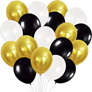 Gold and Black Party Balloons - Pack of 50 I White Latex Balloons I Gold Party Decorations I Chrome Latex Balloons for Bir...