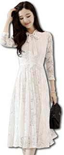 [Bolso] 総レース リボン付き ドレス ワンピース レディース(ブラック、ホワイト、ピンク) M〜XXL