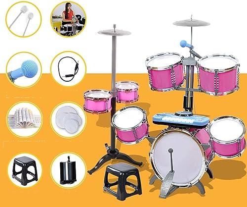 LIPENG-TOY Schlagzeug Kinder Anf er Boy Toys 1-3-6-10 Jahre alt Schlagzeug Größes Schlagzeug DJ Piano (Farbe   Rosa, Stil   A)