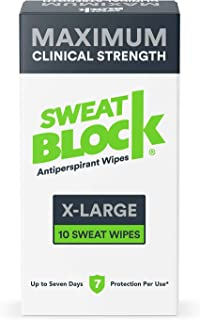 SweatBlock Maximum Strength Antiperspirant Sweat Wipes - Extra Large - Up to 7 day protection - 10 Count