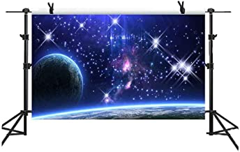 MME 5x3Ft Galaxy Backdrop Stars Sky Background Dark Blue Halo Glitters Stars Purple The Earth Props Photo Studio LXME054