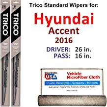 Wiper Blades for 2016 Hyundai Accent Driver & Passenger Trico Steel Wipers Set of 2 Bundled with Bonus MicroFiber Interior Car Cloth
