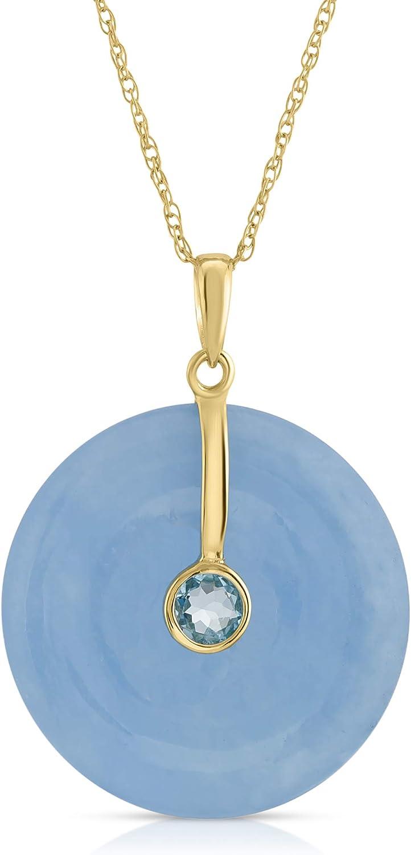 Regalia by Ulti Ramos 14K Yellow Gold 21mm Round Jade Pendant Necklace with Gemstone 17