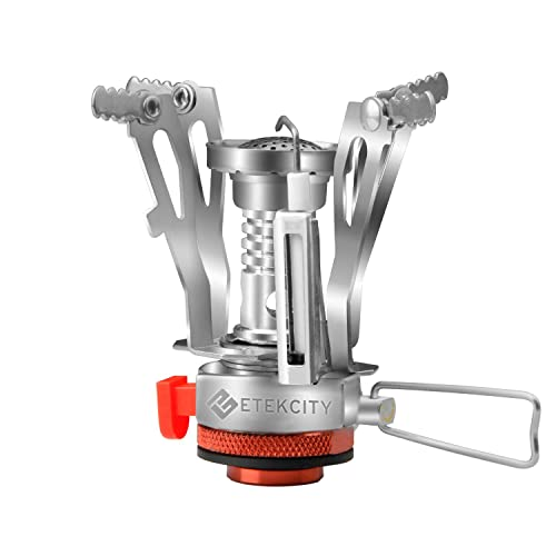 839bca9368e Etekcity Ultralight Portable Outdoor Backpacking Camping Stove with Piezo  Ignition (Orange