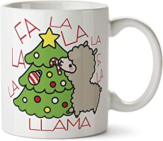 Fa La La Llama Santa Hat Funny Cute Christmas Holiday Gift Tree Coffee Mug Cup 11 Ounce Tea