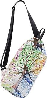 Crossbody Sling Backpack Tree Of Life Painting? Chest Shoulder Bags Multipurpose for Men/Women