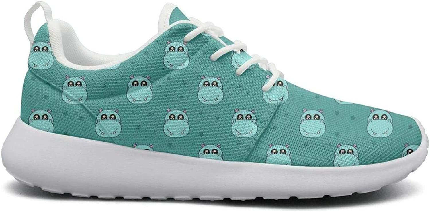 Wear-Resistant Jogger Sneaker Cute colorful Hippo with Stars Beautiful Women Novelty Running shoes