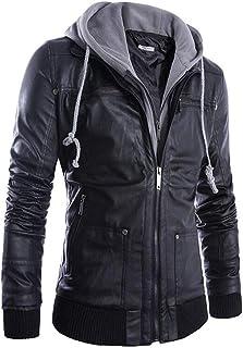 【Oxiyare1206】メンズ パーカー レザージャケット フード付き バイクジャケット gジャン 春 秋 冬 革 PU ライダースジャケット アウター