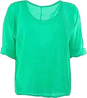 X39 Celebmodelook Italian Plain Short Turn up Sleeves Linen Crop Blouse Lagenlook Top (ONE Size, Jade Green)