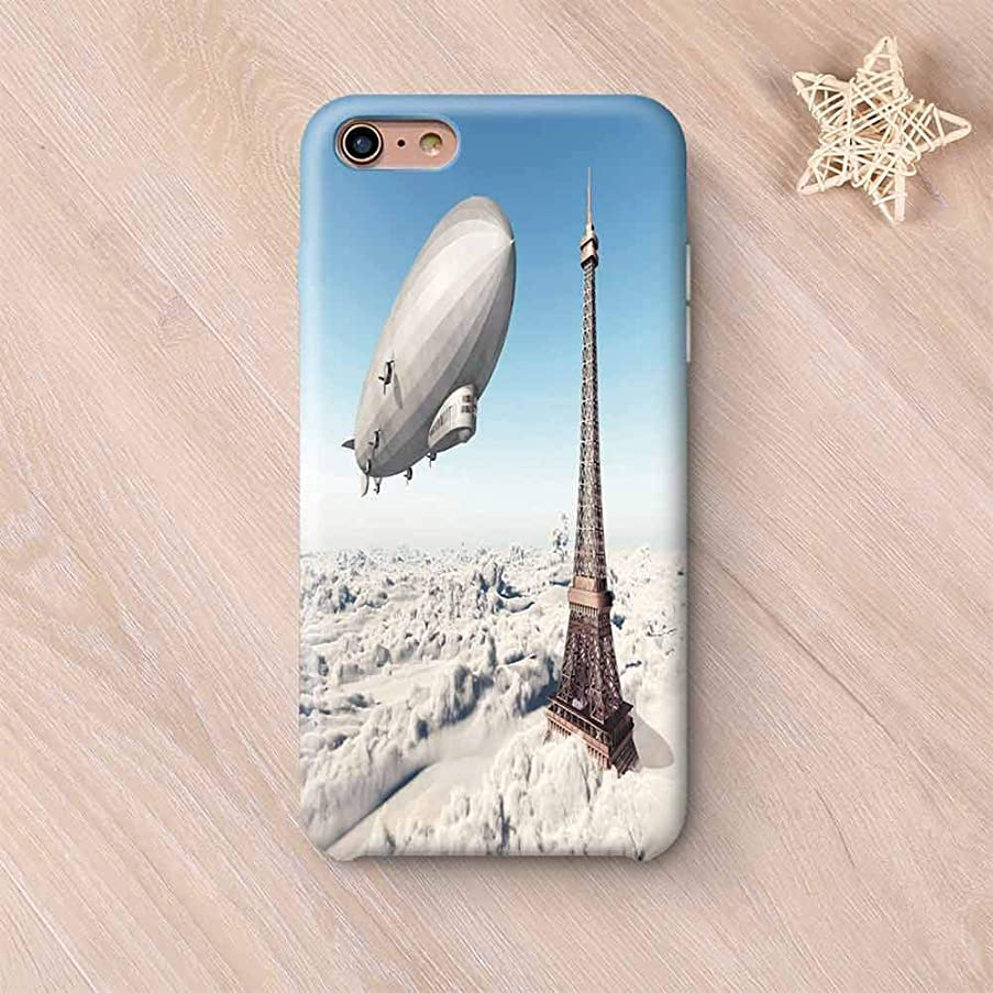 Paris Decor Compatible with iPhone Case,Zeppelin and Eiffel Tower Over Clouds Sky Dreamy Famous Place on Earth Picture Compatible with iPhone X,iPhone 6 Plus / 6s Plus