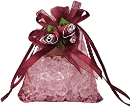 AdasBridal 50Pcs Organza Favor Candy Bags Rose Flower-Ribbon Design Pouches Sheer Drawstring Gift Bags for Wedding Birthday Engagements Anniversary(3.94 X 4.72inch, Wine Red)