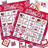 LETILY Bingo Cards Valentine Cards For Kids Adults-24 Players Valentine's Day Bingo Game For Kids Card Games School Classroom Games Birthday Party Favors Supplies Valentine Gifts For Boys Girls