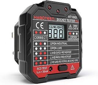 QUILLE stopcontacttester met LCD Display, neutrale aardingsdraad, RCD Test, UK stekker