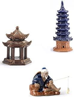3 Pcs Ceramic Buddhist Pagoda Aquarium Decor, Weighted Pavilion Aquarium Ornament Fishing Man Fish Tank Decoration Human Landscape Aquarium Decoration Accessories Desktop Decor
