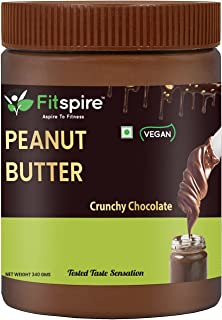 Fitspire Fit 100% Roasted Peanuts Butter Crunchy | Rich in Source of Fiber & Protein | No Cholesterol, Gluten-Free | Delic...
