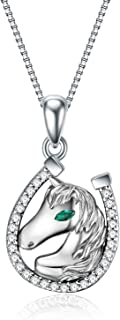 YFN Horse Pendant Necklace Jewelry 925 Sterling Silver Horseshoe Horse Gift for Women Girls